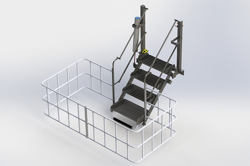 Zipfluid | Sistemi di prevenzione cadute: Scala pieghevole con gabbia